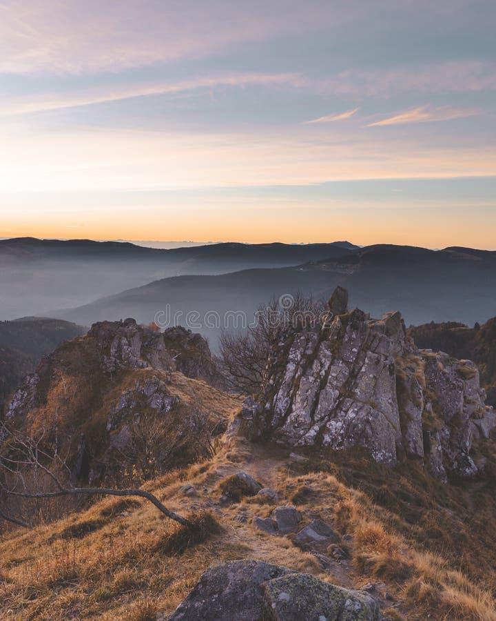 孚日省山清早视图在法国 在森林和岩石的美好的金黄光 库存图片