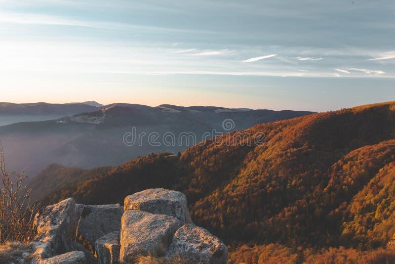 孚日省山清早视图在法国 在森林和岩石的美好的金黄光 图库摄影