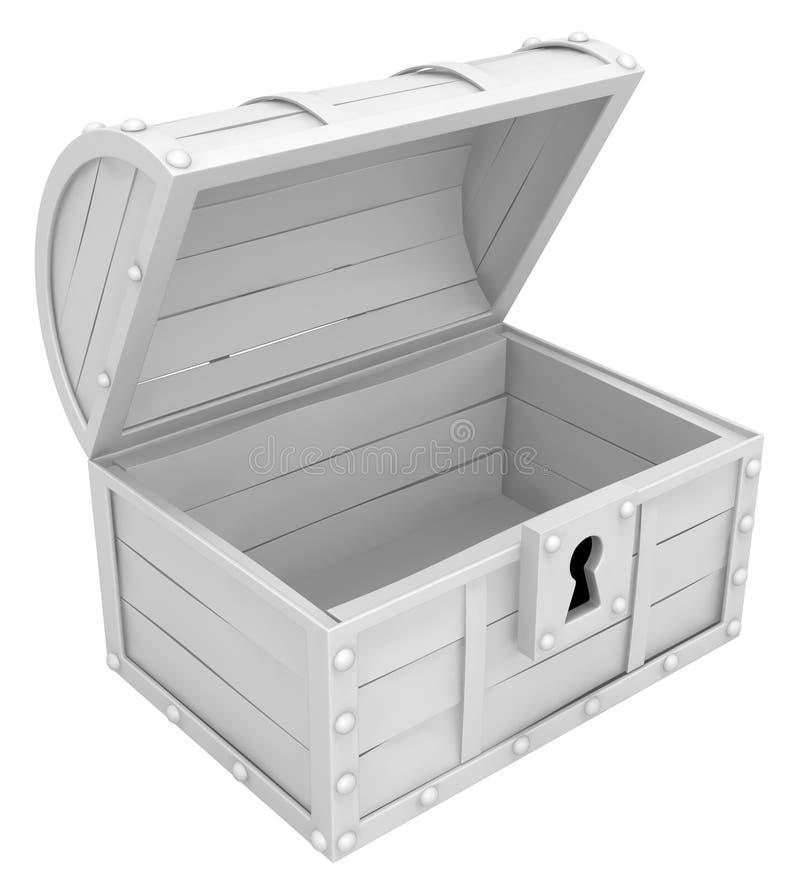 宝物箱空的白色 库存例证