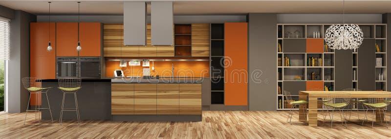 客厅和一个厨房现代房子内部灰棕色和橘黄色的 免版税库存照片