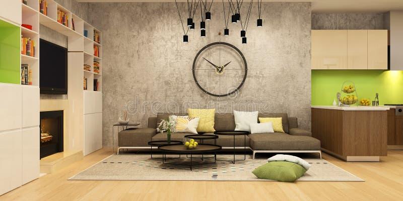 客厅和一个厨房现代房子内部黑和绿色的 图库摄影
