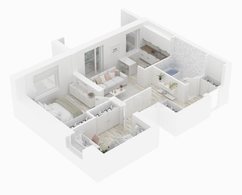 家庭楼面布置图顶视图 在白色背景隔绝的公寓内部 3d回报 向量例证