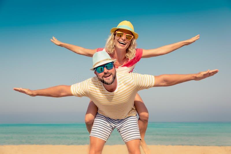 家庭暑假海滩海 免版税库存照片