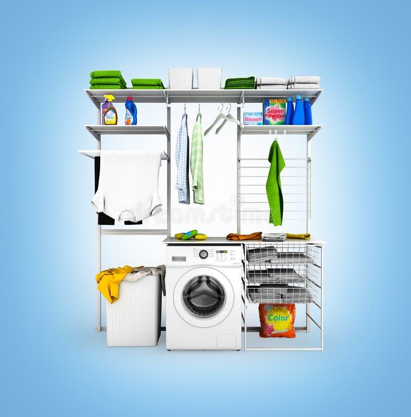 家庭洗衣店内部在蓝色背景的没有阴影背景3d 库存例证