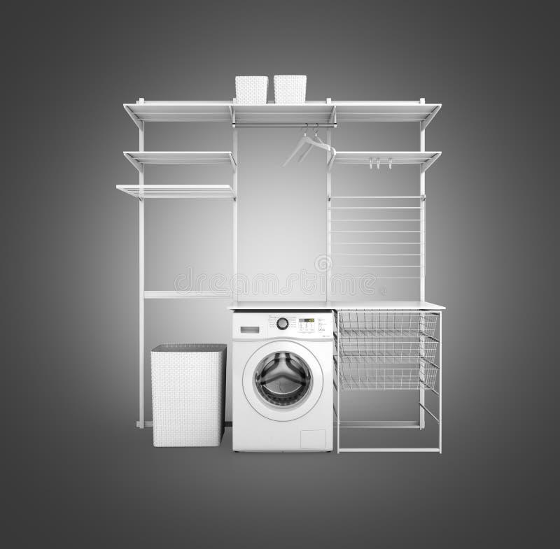 家庭洗衣店和没有阴影的空的架子内部与洗衣机的在灰色梯度背景3d 皇族释放例证
