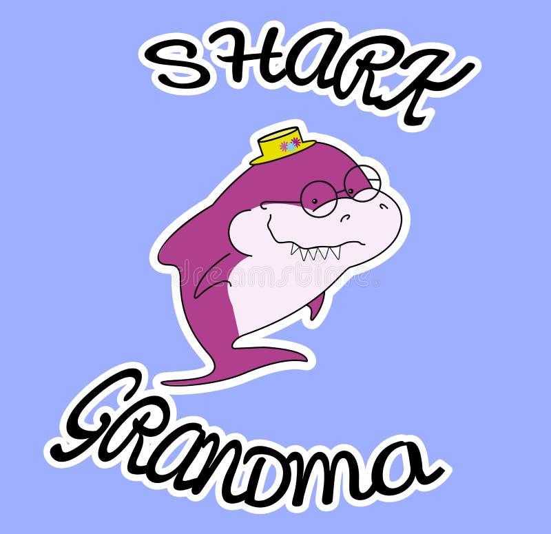 家庭鲨鱼 祖母鲨鱼 在有花的一个草帽 逗人喜爱的与海洋动物镜片的动画片紫色字符  印刷品为 库存例证