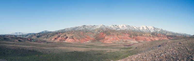 宽全景积雪惊奇镶边了红色山在冬天季节 免版税图库摄影