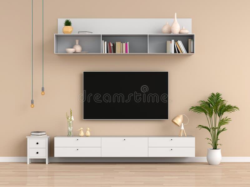 宽银幕电视和餐具柜在客厅,3D翻译 库存例证