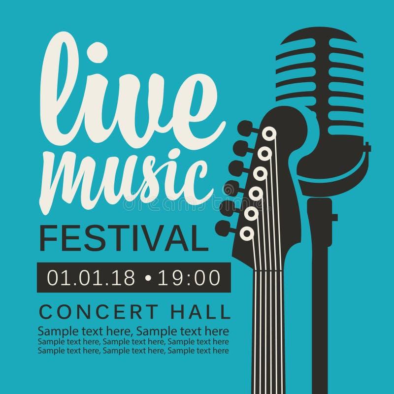 实况音乐节日的海报与吉他和mic 库存例证