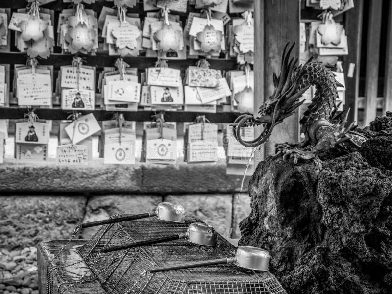 宗教洗涤物的在日本寺庙-礼节洗净喷泉 免版税库存图片