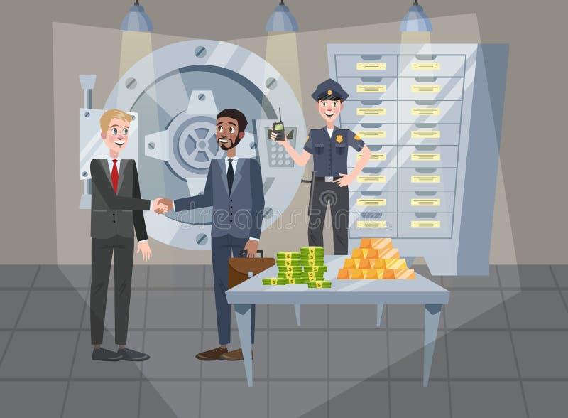 安全室在银行办公室 大安全门 皇族释放例证