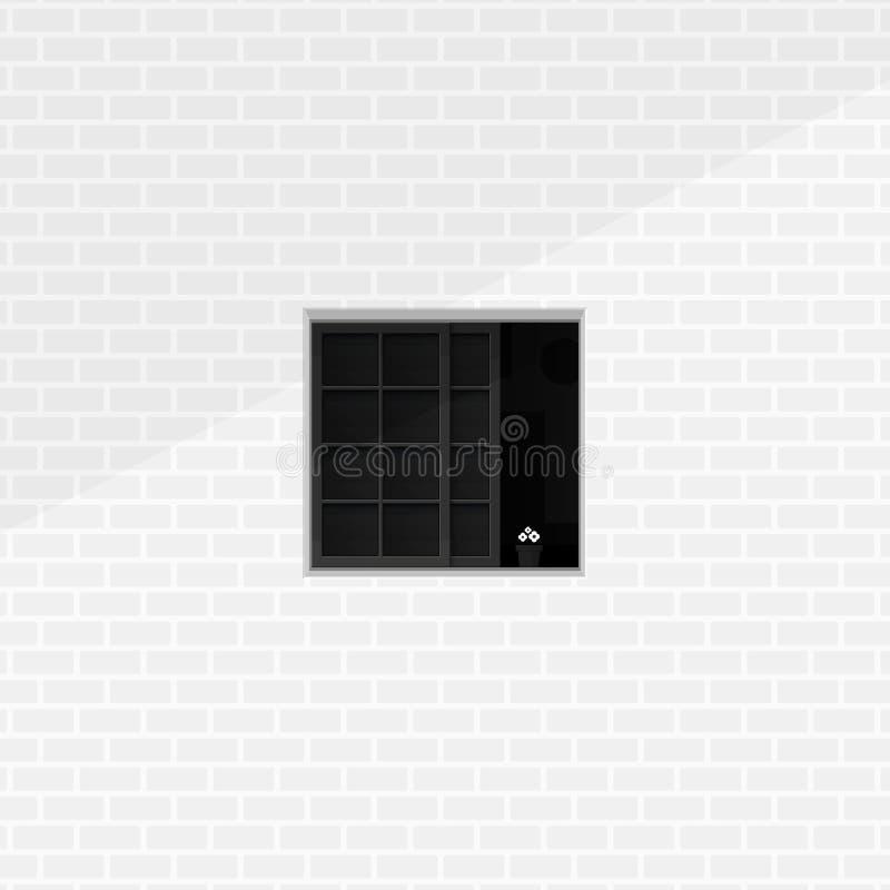 安静的室在窗口单色最低纲领派例证概念之外的看的形式 一半与花盆的广场窗口和 库存例证
