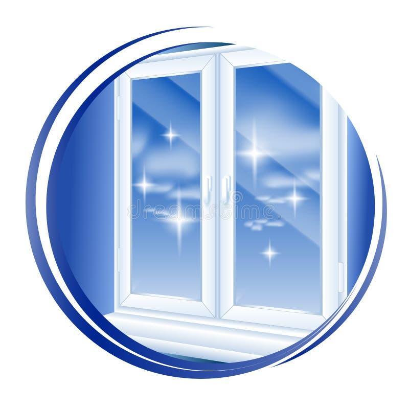 对发光的象的干净的窗户清洁 背景查出的白色 也corel凹道例证向量 皇族释放例证