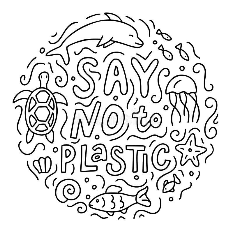 对塑料乱画说不 库存例证
