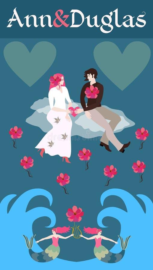 对婚礼的邀请与盘旋在海波浪的云彩的一对年轻愉快的夫妇 皇族释放例证