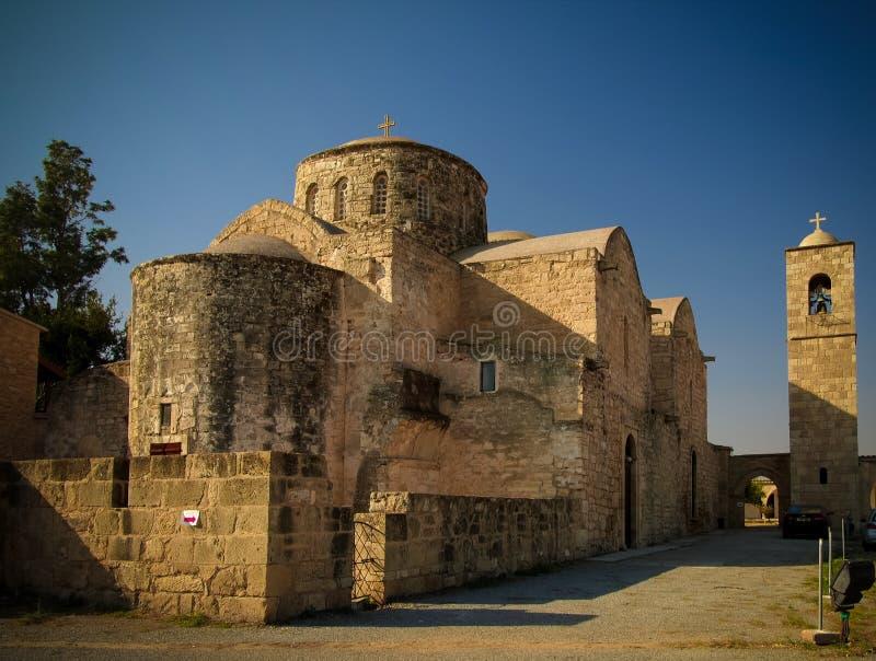 对圣徒巴拿巴修道院,法马古斯塔,北塞浦路斯的外视图 免版税库存图片