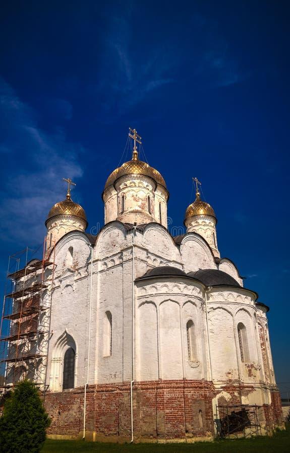 对Mozhajskij Luzhetsky Feropontov修道院的外视图, mozhaysk莫斯科地区,俄罗斯 库存图片