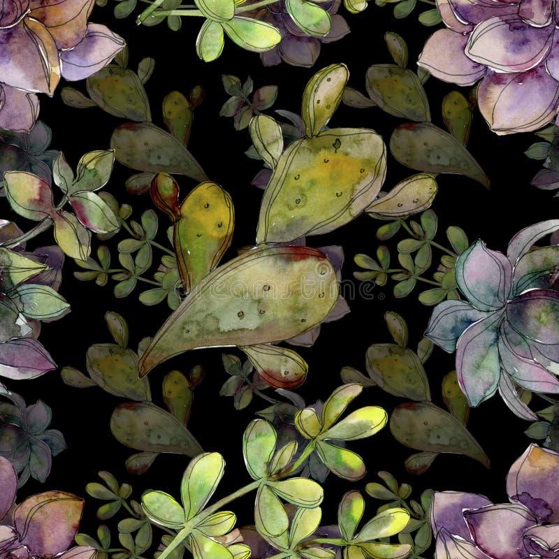 密林植物的多汁花 水彩背景例证集合 无缝的背景模式 库存例证