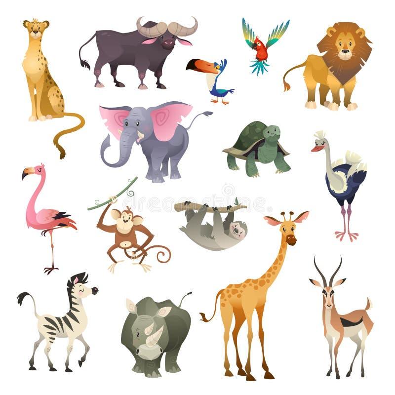 密林野生动物 大草原森林动物鸟徒步旅行队自然非洲热带异乎寻常的森林海洋哺乳动物,动画片集合 向量例证
