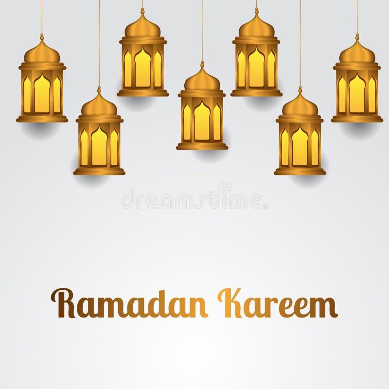 小组例证挂了伊斯兰教的庆祝事件、斋月kareem和穆巴拉克的小组金黄现实灯笼 库存例证
