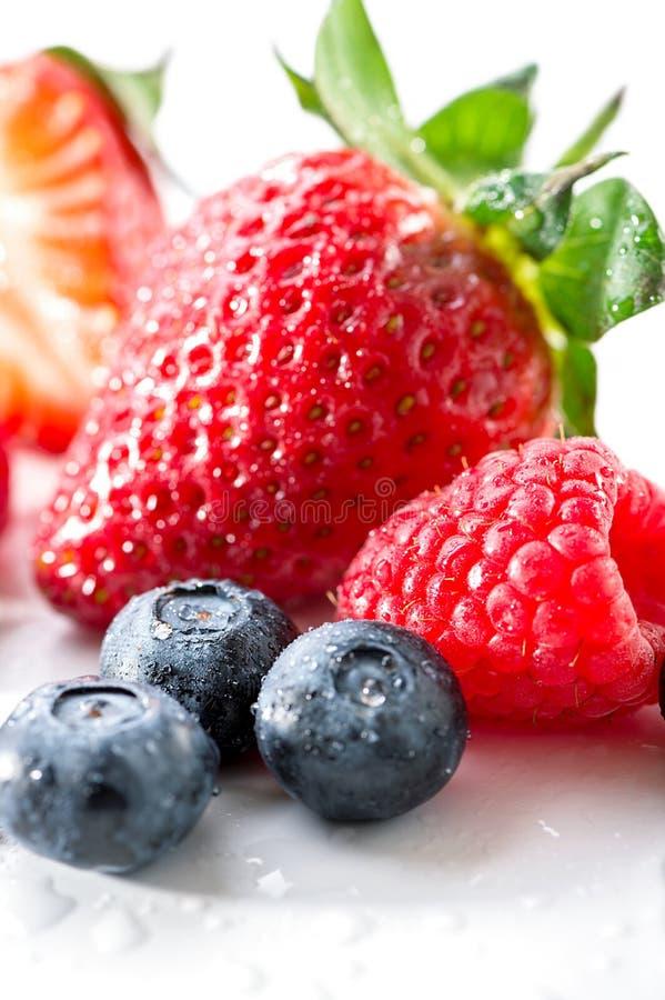 小组莓果蓝莓、莓和草莓特写镜头在白色背景 免版税图库摄影