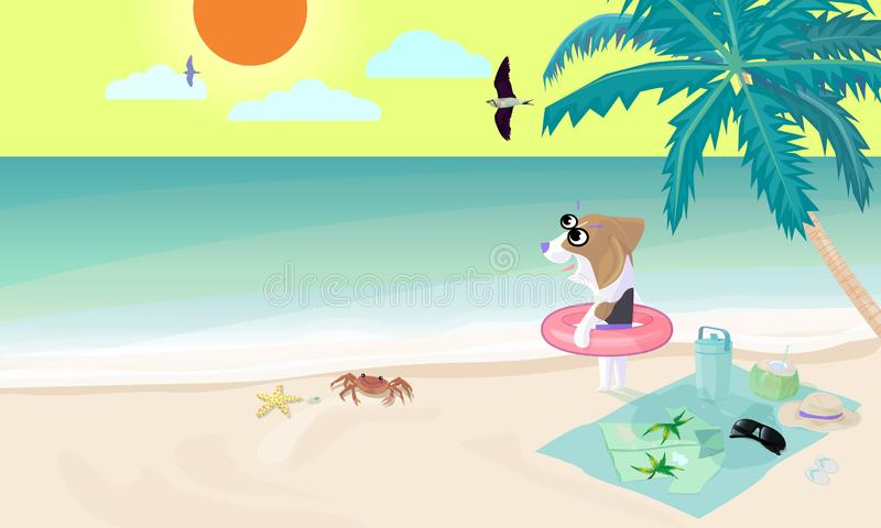 小猎犬狗穿戴在海滩的游泳圆环准备演奏水在海 向量例证