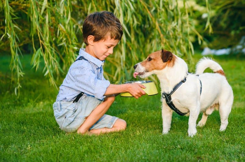 小男孩藏品狗碗在给他的渴爱犬喝水的手上 库存照片