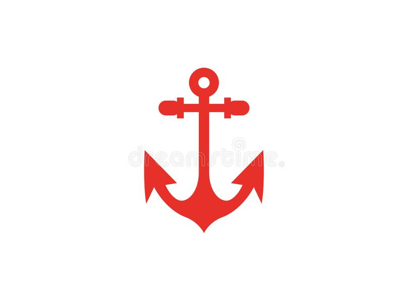 小船和游艇商标的红色船锚 向量例证