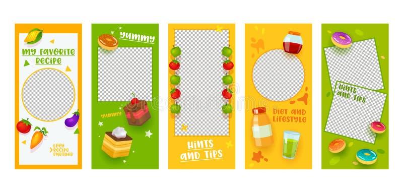 屏幕集合的Instagram故事模板食物的饮食食谱流动应用程序页 五颜六色的果菜类蛋糕想法设计 社会 库存例证