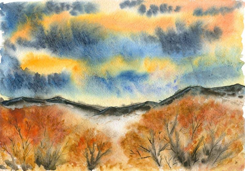 山和阴暗天空背景的秋天森林  库存例证