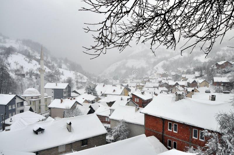 山村在冬天 库存图片