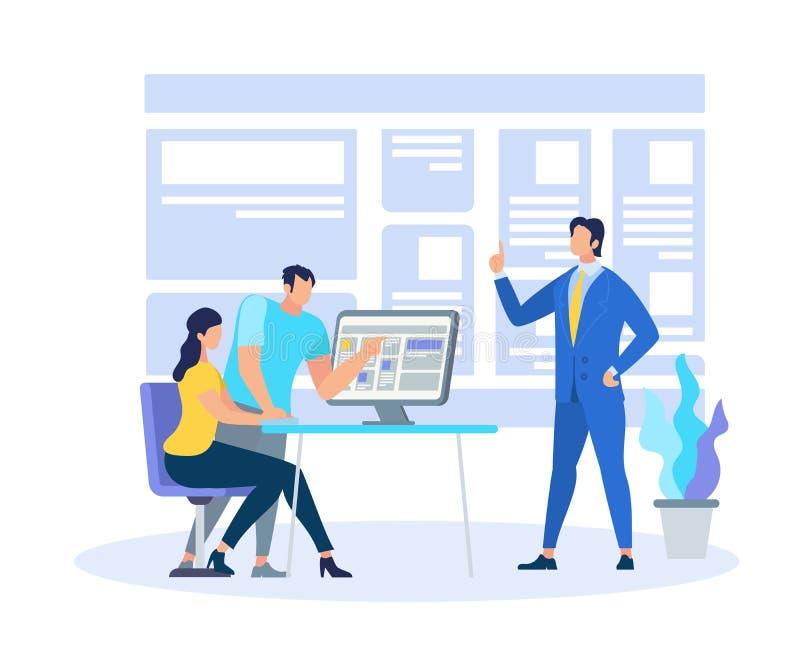 展示知识信息的企业教练 库存例证