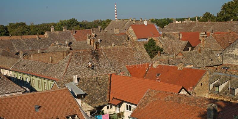 屋顶在老城市彼得罗瓦拉丁,塞尔维亚环境美化 免版税库存图片