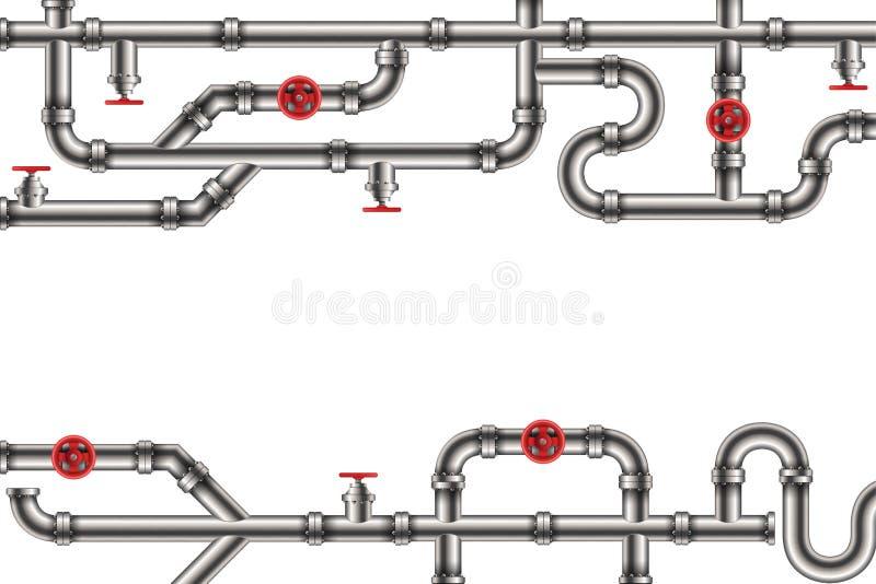 工业油的创造性的传染媒介例证,水、煤气管系统和商品用管道运输配件,在背景的阀门 库存例证