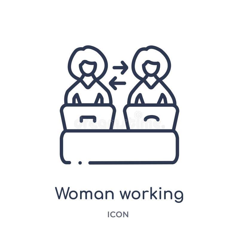 工作从夫人概述汇集的线性妇女处理象 稀薄的线在白色隔绝的妇女运作的过程象 皇族释放例证