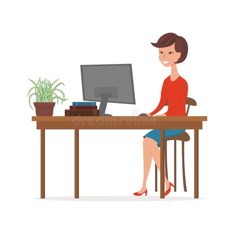 工作在计算机的妇女 办公室工作者的卡通人物 库存例证