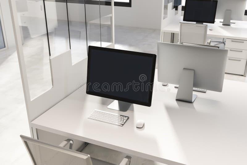 工作场所在白色和玻璃办公室 皇族释放例证