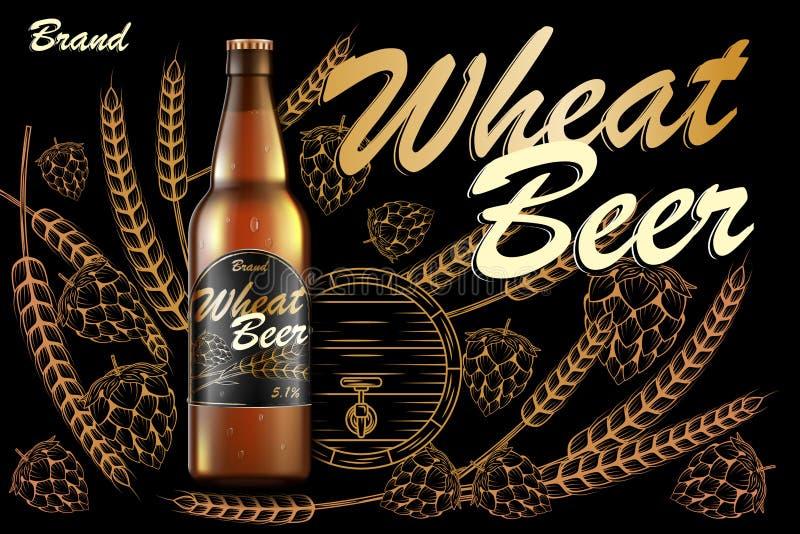 工艺麦子啤酒广告设计 现实在黑暗的背景隔绝的麦芽金黄瓶啤酒用成份麦子,蛇麻草 库存例证
