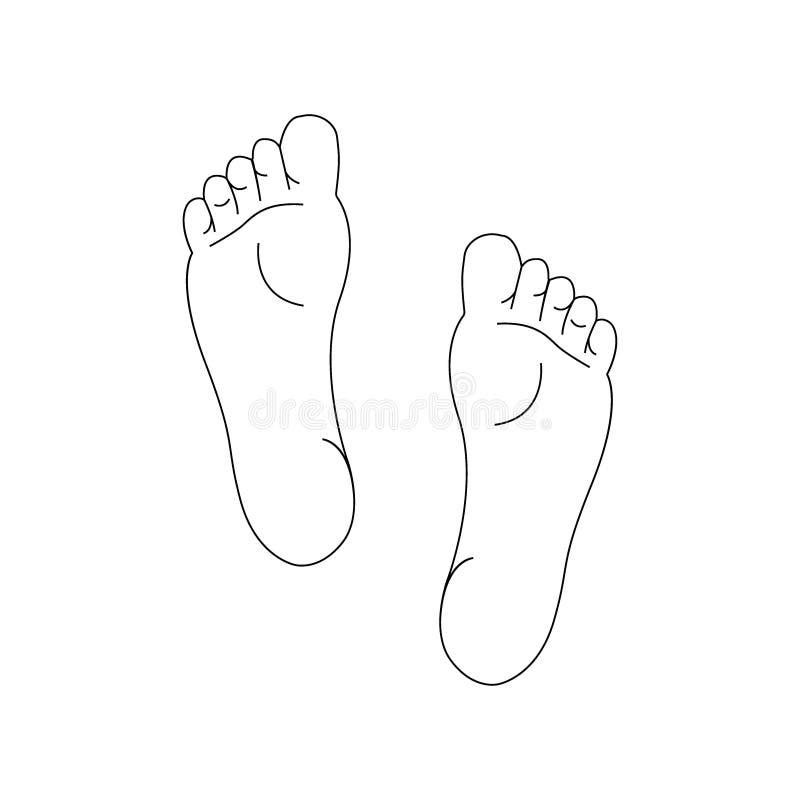 左右脚鞋底的线描 向量例证
