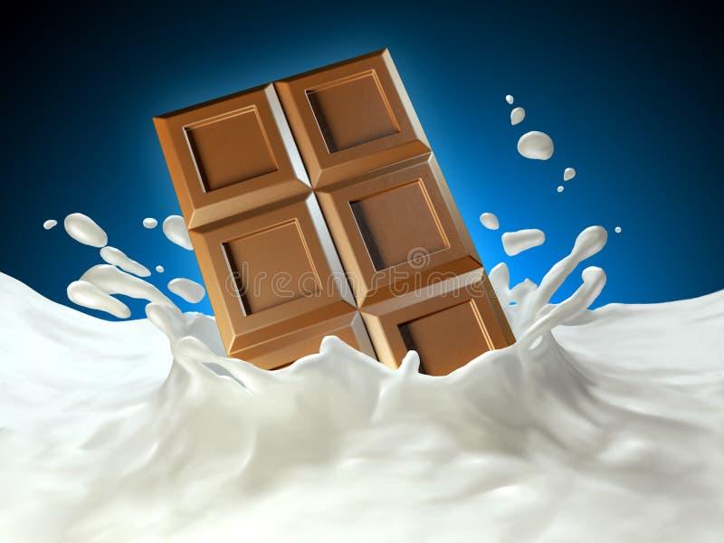 巧克力块和牛奶 皇族释放例证