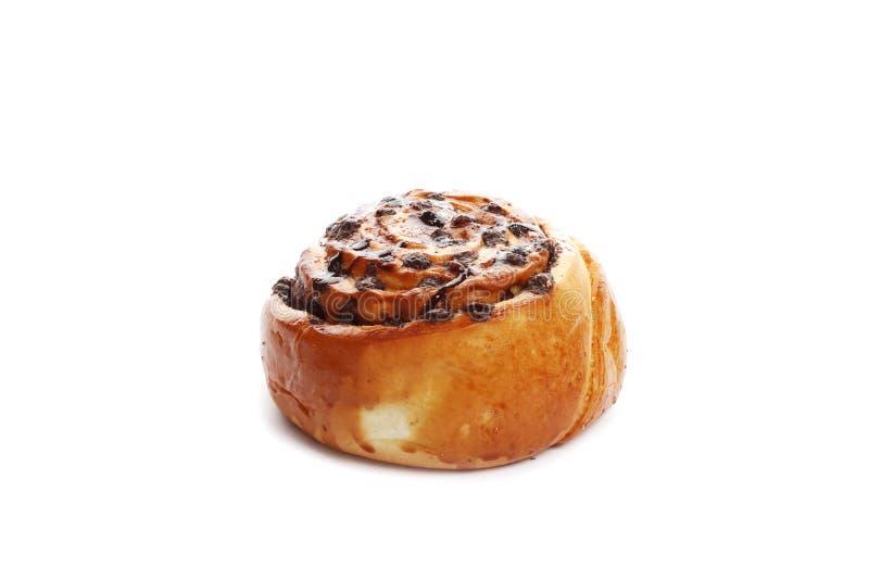 巧克力在白色背景隔绝的桂香小圆面包 免版税库存照片