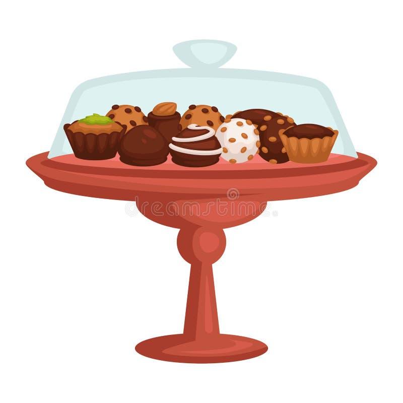 巧克力蛋糕和杯形蛋糕曲奇饼和糖果在立场被隔绝的对象 向量例证