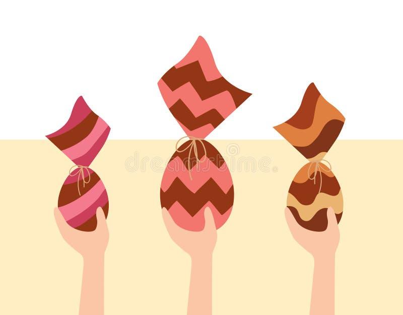 巧克力Easters鸡蛋购物 人购买包裹了巴西朱古力蛋 向量例证