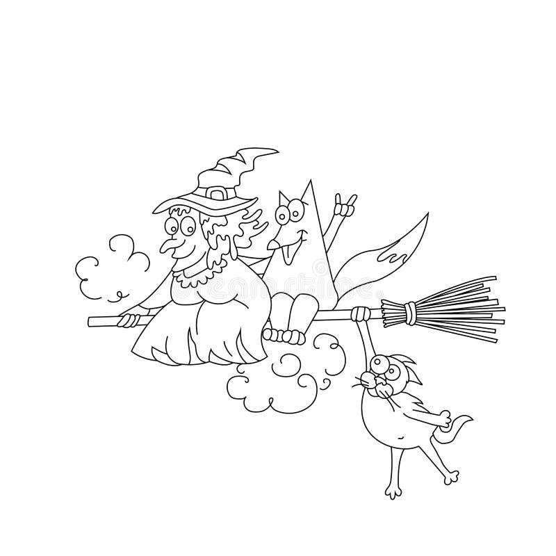 巫婆和狡猾的狐狸飞行在笤帚 友谊 滑稽的着色 也corel凹道例证向量 皇族释放例证