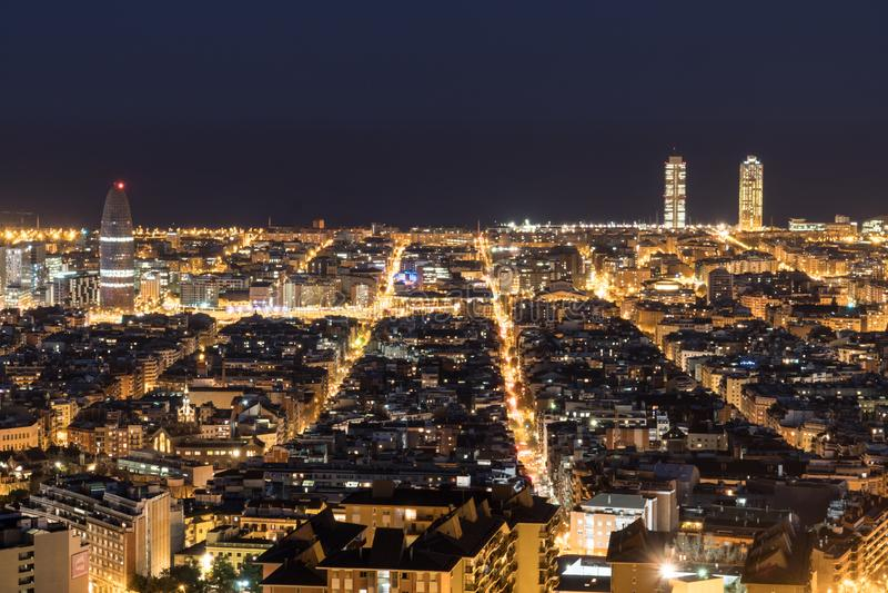 巴塞罗那,西班牙看法,在晚上 免版税库存照片
