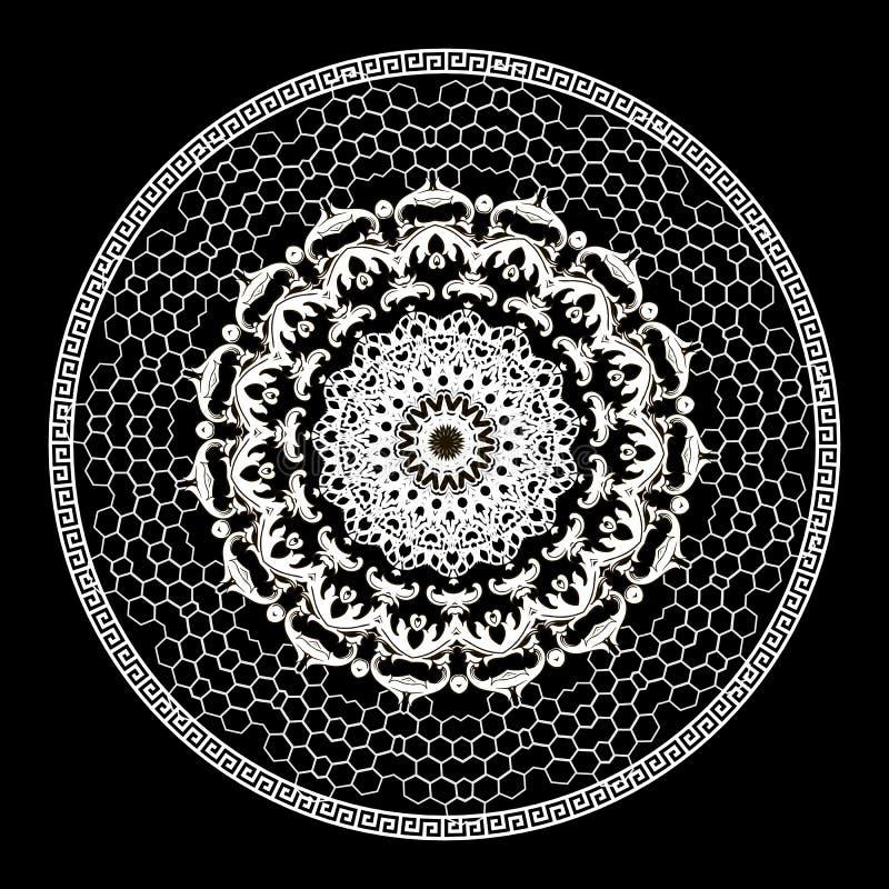 巴洛克式的传染媒介圆的鞋带坛场样式 装饰花卉希腊背景 几何希腊钥匙河曲古老装饰品 向量例证