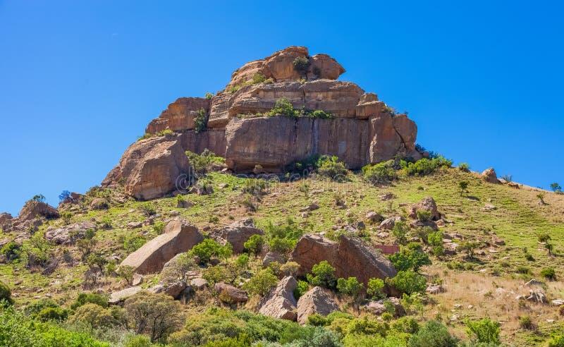 巴索托文化村庄看法在德拉肯斯山脉南非 库存图片