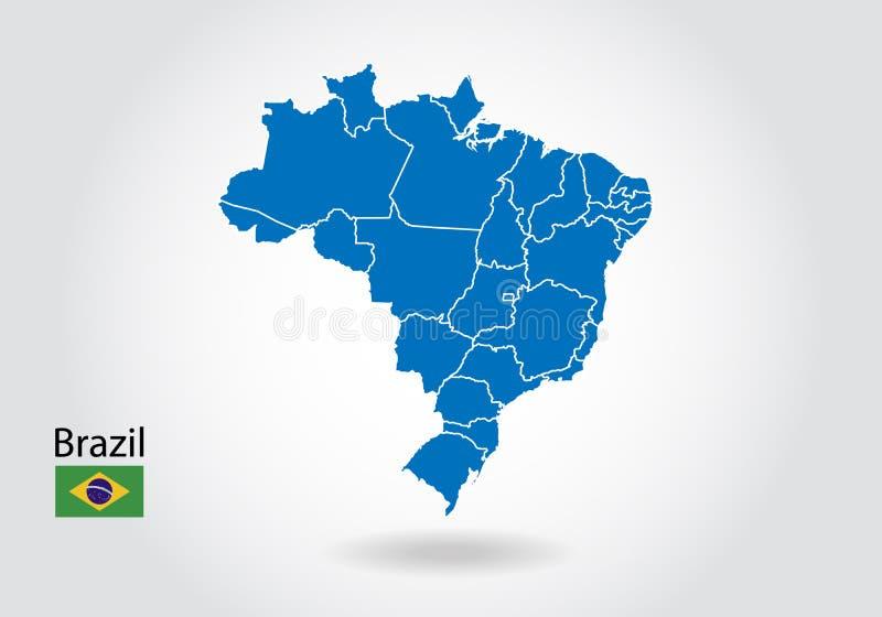 巴西与3D样式的地图设计 蓝色巴西地图和国旗 与等高,形状,概述的简单的传染媒介地图,在白色 库存例证