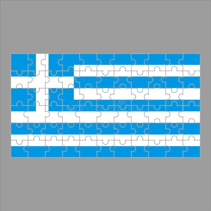希腊难题旗子在灰色背景的 库存例证