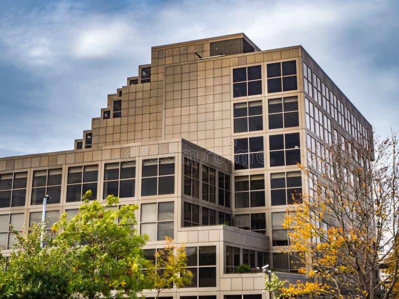 布拉克内尔,柏克夏英国2018年10月12日:现代金子上色了与窗口的办公楼 免版税库存照片